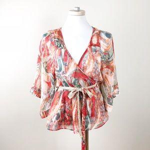 Ark & Co Ikat Kimono Sleeve Wrap Top